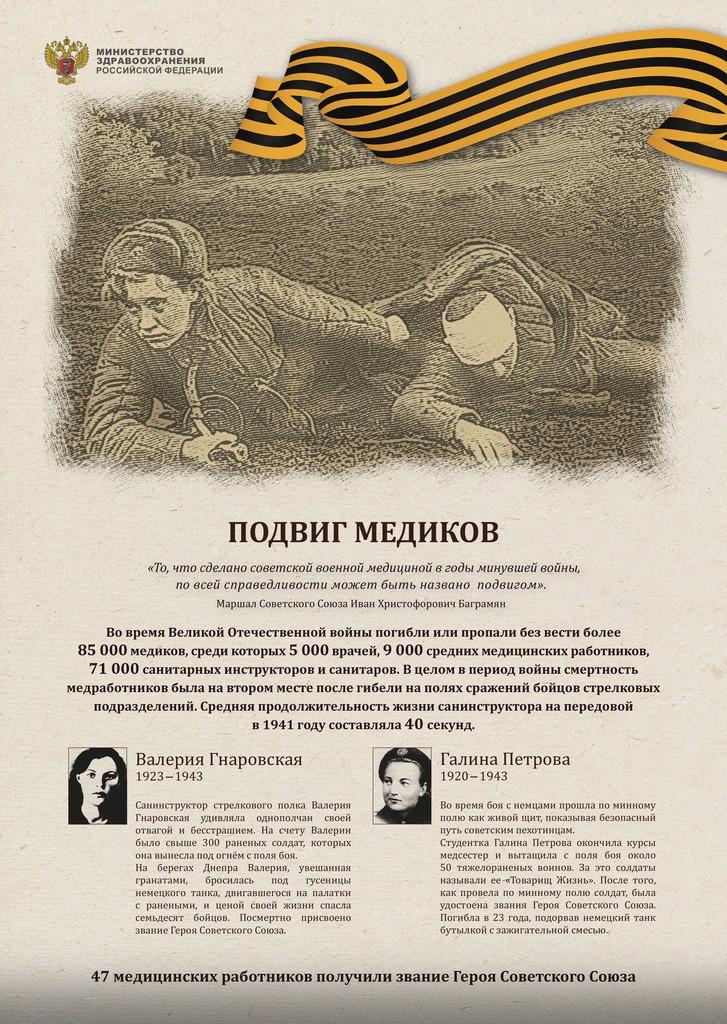 Министерство здравоохранения России опубликовало плакаты, на которых изображены подвиги медиков в годы Великой Отечественной войны. Из них следует, что в период ВОВ без вести пропали 85 тысяч медицинских работников. Из них пять тысяч врачей, девять тысяч медсестёр и 71 тысяча санитаров и санитарных инструкторов.