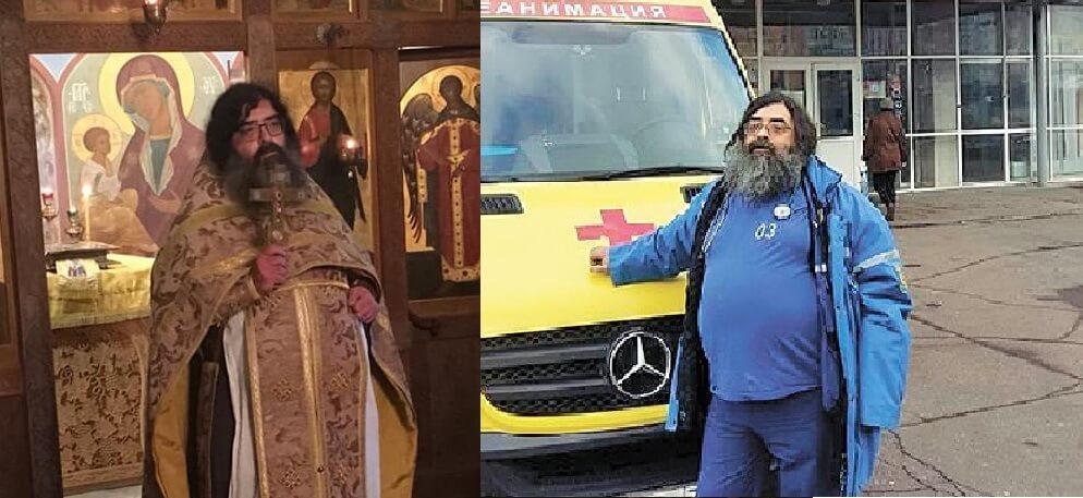 Врач скорой помощи реаниматолог Сергей Сеньчуков выходит на дежурство два-три раза в неделю, ещё два-три дня в неделю он облачается в одежды священника и служит в монастыре в качестве отца Феодорита.