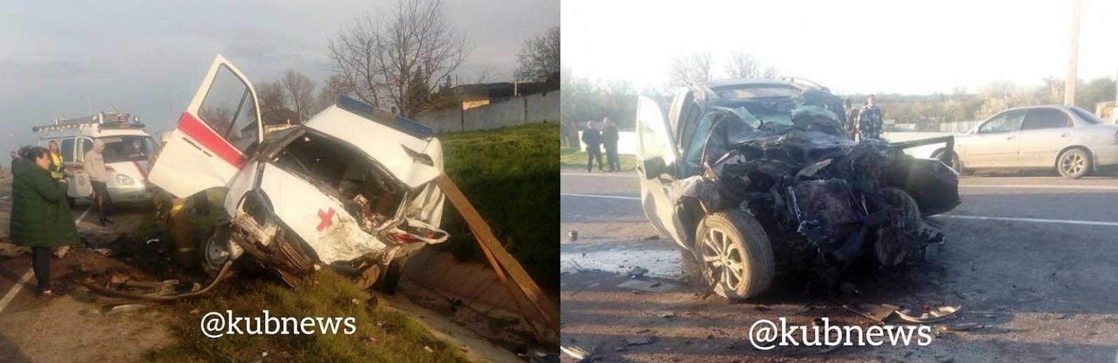 В Крымском районе Краснодарского края вечером 21 апреля произошло смертельное ДТП с участием скорой помощи и внедорожника BMW X5, передаёт «Блокнот». На месте происшествия сразу же скончались водители обеих машин, а позже в больнице умерла и фельдшер «скорой».