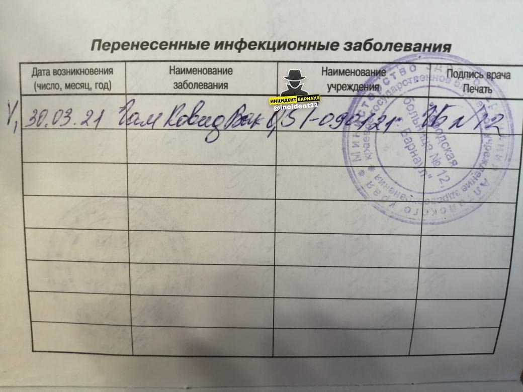 Барнаульцу вместо прививки от гепатита ввели вакцину от коронавируса
